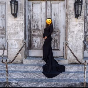 Black long sleeve dress w/ train